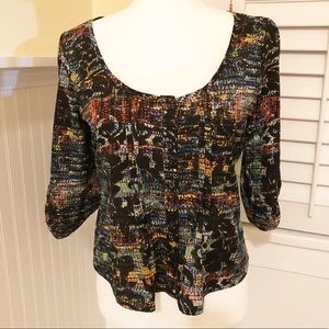 Love Squared Multi-Color Scoop-Neck Blouse - M